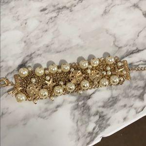 3/$12 pearl starfish mesh wide bracelet